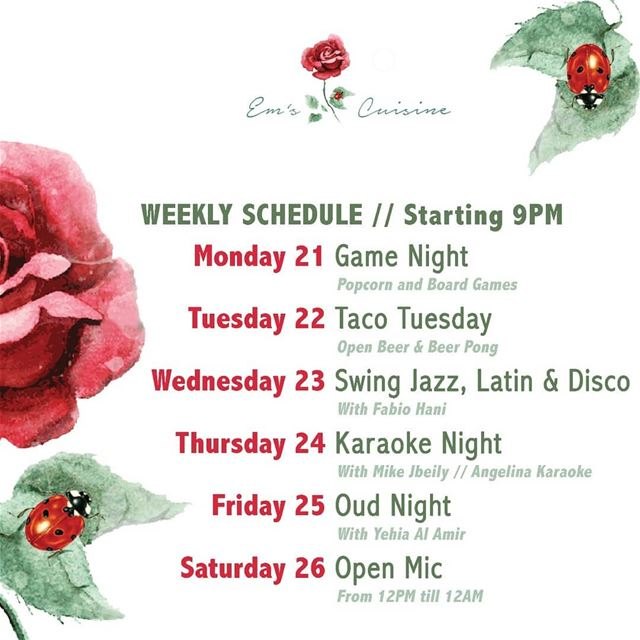 Em's weekly calendar. We've got you covered!For info and reservations ☎️...